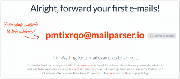 Create a new inbox with mailparser